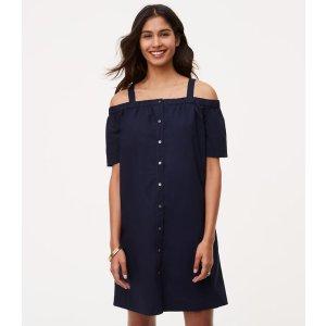 Off The Shoulder Shirtdress | LOFT