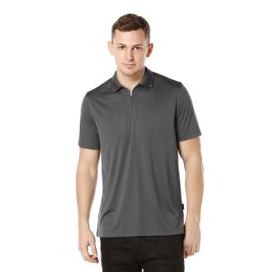 Short Sleeve Iridescent Zip Collar Polo - Perry Ellis