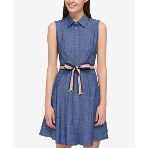 Tommy Hilfiger Cotton Belted Shirtdress, Only at Macy's - Dresses - Women - Macy's