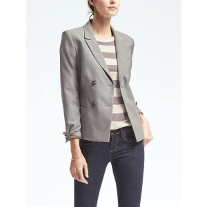 Double Breasted Lightweight Wool Blazer | Banana Republic