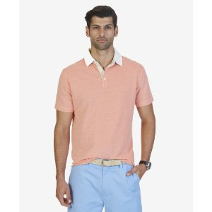 Classic Fit Oxford Pique Polo Shirt - Burnt Orange   Nautica