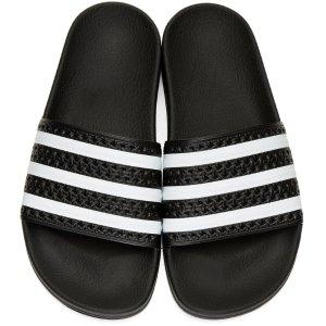 adidas Originals: Black Adilette Slide Sandals
