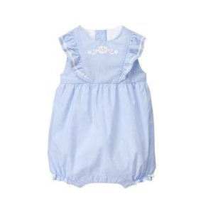 Baby Girl Ocean Blue Embroidered 1-Piece at JanieandJack