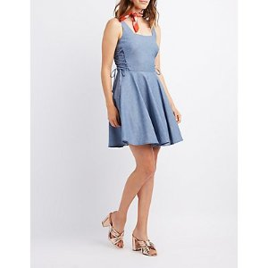 Chambray Lace-Up Skater Dress | Charlotte Russe