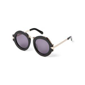 Black Maze Round Sunglasses