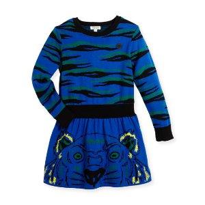 Kenzo Long-Sleeve Knit Tiger Dress, Blue, Size 14-16