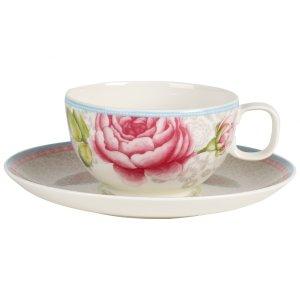 Rose Cottage Tea Cup & Saucer Set : Grey 10.5oz/7in - Villeroy & Boch