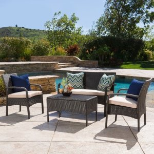 Cordoba Outdoor 4-piece Wicker Chat Set with Cushions by Christopher Knight Home - Free Shipping Today - Overstock.com - 17983764