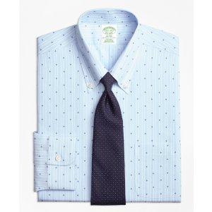 Non-Iron Milano Fit Stripe Flower Dress Shirt - Brooks Brothers