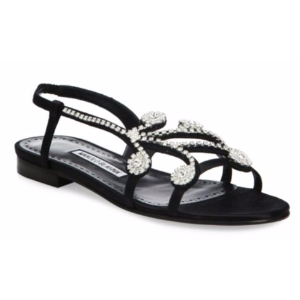 Manolo Blahnik - Fernus Crystal-Embroidered Flat Sandals - saks.com