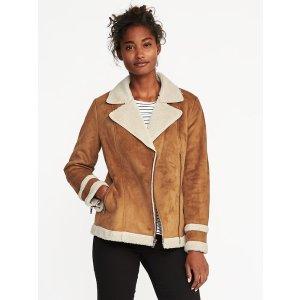Sherpa-Lined Moto Jacket for Women