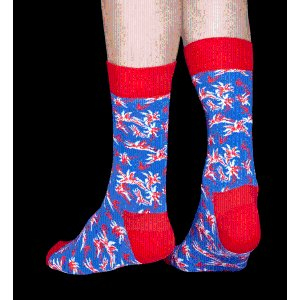Red, blue, white cotton ALOHA Socks at Happy Socks!