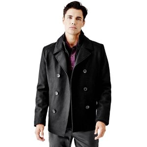 Bradley Peacoat with Removable Placket at Guess