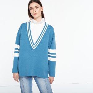 Two-Tone Oversize V-Neck Sweater - Sweaters - Sandro-paris.com