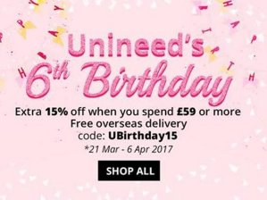 Extra 15% Offwith Any Purchase over £59 @ unineed.com