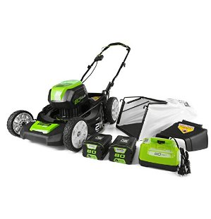 $299GreenWorks Pro GLM801601 80V 21-Inch Cordless Lawn Mower, (2) 2AH Batteries and a Charger Included