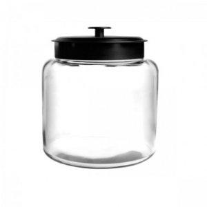 Anchor Hocking Mini Montana Glass Jar w/ Black Lid, 64oz