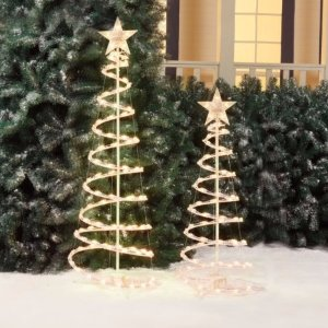 Holiday Time Lighted Spiral Christmas Tree Sculptures, Clear Lights (2-Pack) - Walmart.com