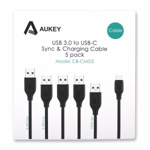 AUKEY USB-C to USB 3.0 Cable (5-Pack)