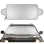 "Hippih Car Sun Shade Travel 63""x31"" Pouch, Large Sizes Windshield Sun Shade With 2 Ears Block Out 99.9% UV Rays Heat & Snow Car Sun Shade Keep Automobile Cool"