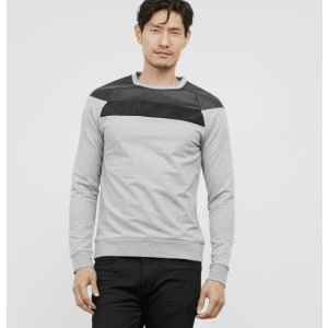 Long-Sleeve Crewneck with Faux Leather and Suede | Kenneth Cole