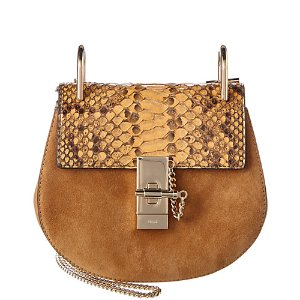 Chloé Drew Mini Python Leather & Suede Shoulder Bag