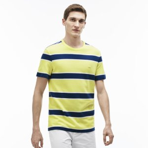 Men's Crew Neck Striped Jersey T-Shirt | LACOSTE