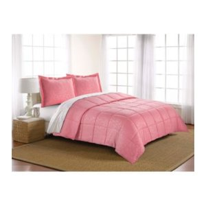 LivingQuarters Reversible Microfiber Down-Alternative Lily Embossed Comforter