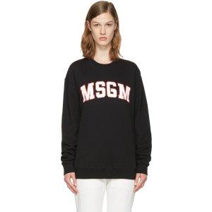 MSGM: Black Block Letter Logo Pullover