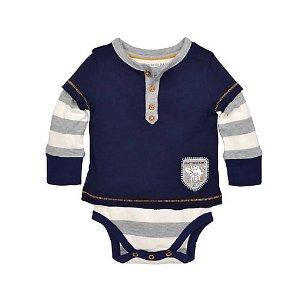 Stripe Henley 2fer Bodysuit