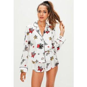 Missguided - White Bang Print Cropped Pajamas Set