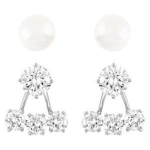 Attract Pearl Pierced Earrings Jacket Set - Jewelry - Swarovski Online Shop