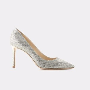 Romy 85 Glitter Fabric Pointy Toe Pump Heels