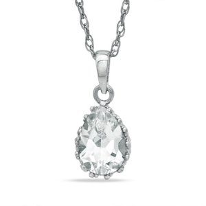Pear-Shaped Lab-Created White Sapphire Crown Pendant in Sterling Silver - Save on Select Styles - Zales