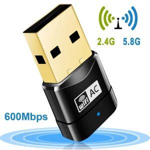 $8.99(原价$25.99)Mailiya AC600 双频 802.11ac USB 2.0 WiFi适配器