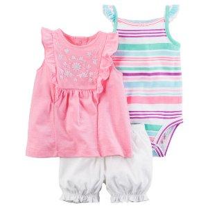 Baby Girl 3-Piece Neon Bubble Short Set | Carters.com