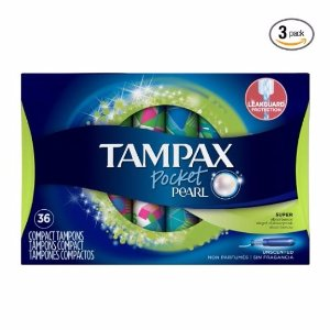 $14.97Tampax Pocket Pearl Plastic Tampons, Super Absorbency, Unscented,36 Count (Pack of 3)