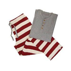 Mens Organic Henley Rugby Stripe Pajama Set