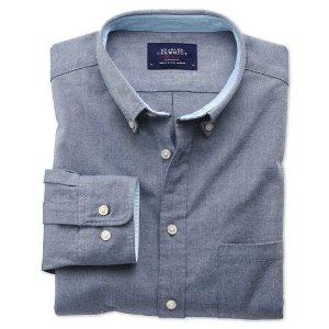 Slim fit denim blue plain washed Oxford shirt | Charles Tyrwhitt
