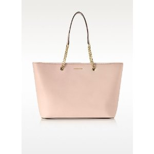 Michael Kors Jet Set Travel Chain Medium Soft Pink T/Z Saffiano Leather Multifunction Tote at FORZIERI