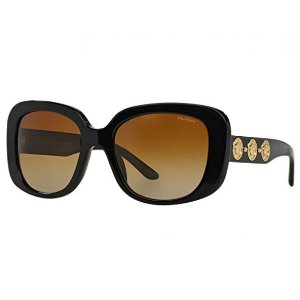 Black and Gold 56mm VE4284 Polarized Sunglasses from Versace | Focus Camera