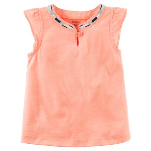 Neon Flutter-Sleeve Embroidered Tank