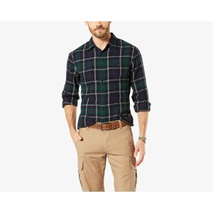 FLANNEL SHIRT, Standard Fit | Cream/Red Multi Plaid | Dockers® United States (US)