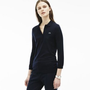 Women's Wool Jersey Sweater Polo   LACOSTE