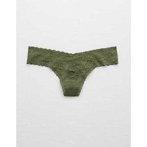 Aerie Everyday Loves Lace Thong , Olive Fun