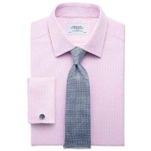 Extra slim fit Egyptian cotton diamond texture pink shirt | Charles Tyrwhitt