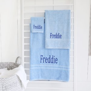 Personalized Blue Bath Towels - Bath | My 1st Years