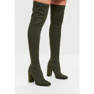 Missguided - Khaki Pointed Knee High Neoprene Boots