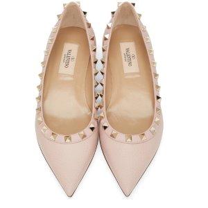 Valentino: Pink Rockstud Flats