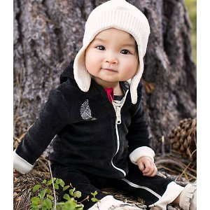 Baby Organic Cotton Velour Hooded Coverall